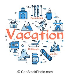 Blue Winter Vacation Concept