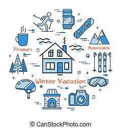 Blue Winter Vacation in Mountains Concept