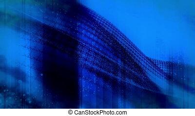 Blue wire frame flowing loop