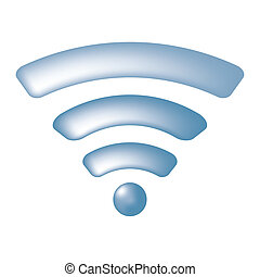 Blue wireless symbol (wifi)
