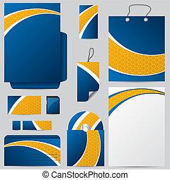 Blue with hexagon orange stationary design
