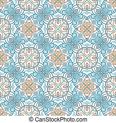 Blue with orange pattern