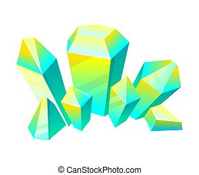 Blue with yellow crystals. Vector illustration on a white background.