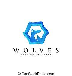 Blue Wolves Company Logos Design Vector Illustration Template