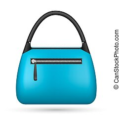 Blue woman bag isolated on white