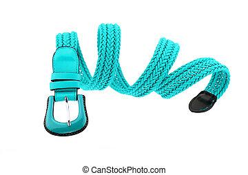 blue woman crochet belt isolated on white background