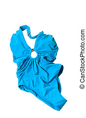 blue woman swimming suit isolated on white