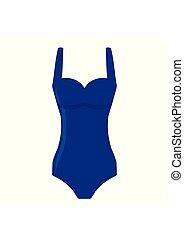 Blue women swimsuit isolated on white background. Bikini...