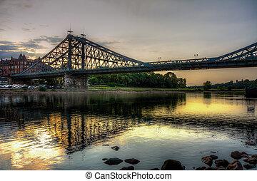 Blue Wonder bridge accross the river Elbe