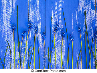 Blue wood background with blue flowers and stems