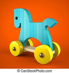 Blue wood horse on red background (symbol of the new year 2014)