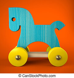 Blue wood horse toy on red background