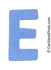 """blue wooden alphabet capital letter """"D"""" isolated on white background"""