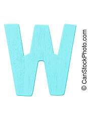 """blue wooden alphabet capital letter """"W"""" isolated on white background"""