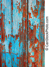 Blue wooden background. Weathered color planks azure texture macro