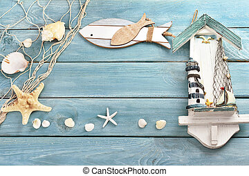 blue wooden background with summer souvenirs