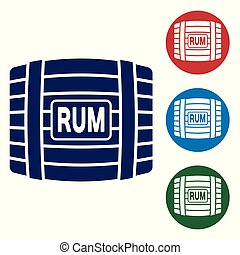 Blue Wooden barrel with rum icon isolated on white background. Set color icon in circle buttons. Vector Illustration