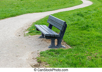 Blue Wooden Bench With Gravel Path