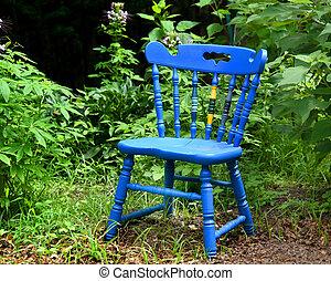 Blue Wooden Chair in Community Garden