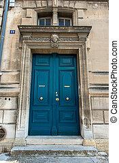 Blue wooden door in avignon