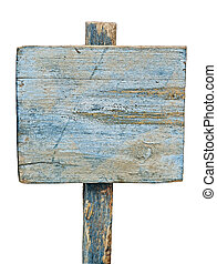 blue wooden sign on white