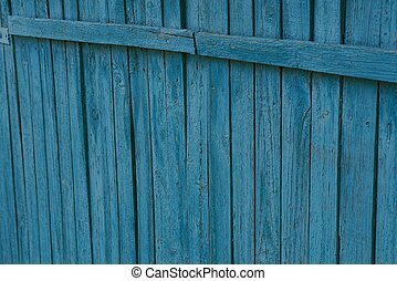 blue wooden texture of old thin fence boards