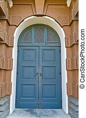 Blue wooden vintage door