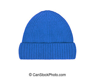 blue wool hat isolated on white