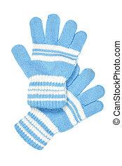 Children's wear - woollen gloves isolated over white background