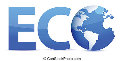 blue word Eco with 3D globe