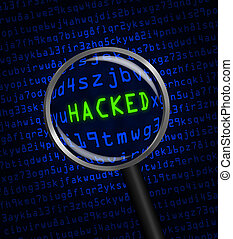 "Blue word ""HACKED"" revealed revealed in green computer machine code through a magnifying glass"