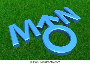 Blue Word Man on Grass/Gender Symbol