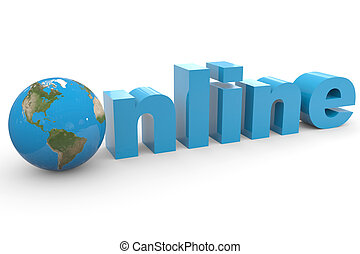 Blue word ONLINE with 3D globe replacing letter O.