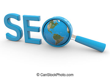 Blue word SEO with 3D globe and magnifying glass replacing letter O. Computer generated image.