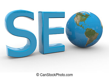 Blue word SEO with 3D globe replacing letter O.