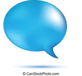 Blue word speech on white