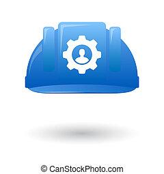 Blue work helmet with a gear