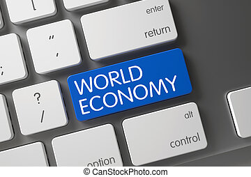 Blue World Economy Key on Keyboard. 3D.
