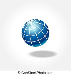 Blue world globe icon with shadow