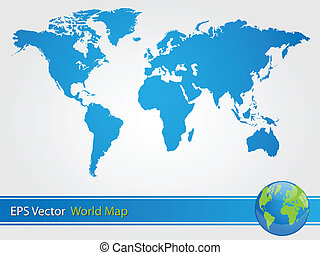 Blue World Map Illustration