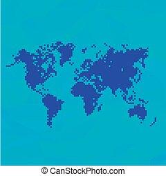 Blue World Map In Pixels.