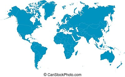 Blue world map on white background. Vector illustration