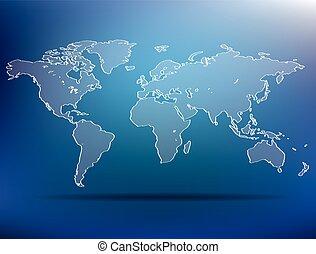 blue world map - vector