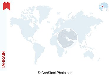 Blue world map with magnifying on Bahrain.