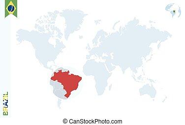 Brazil country map polygonal with spot lights places.