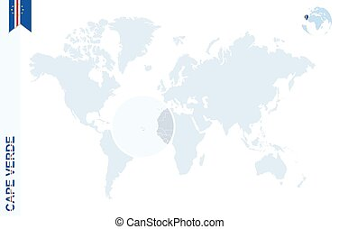 Word cape verde on a world map background Word cape verde