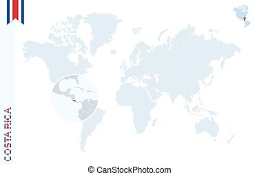 Costa rica on world map map with highlighted costa rica map blue world map with magnifying on costa rica gumiabroncs Gallery