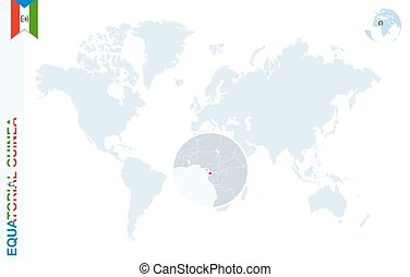 Blue world map with magnifying on Equatorial Guinea.
