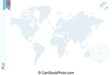 Fiji on world map map with highlighted fiji map and flag vector blue world map with magnifying on fiji gumiabroncs Gallery