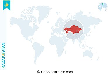 Blue world map with magnifying on Kazakhstan.